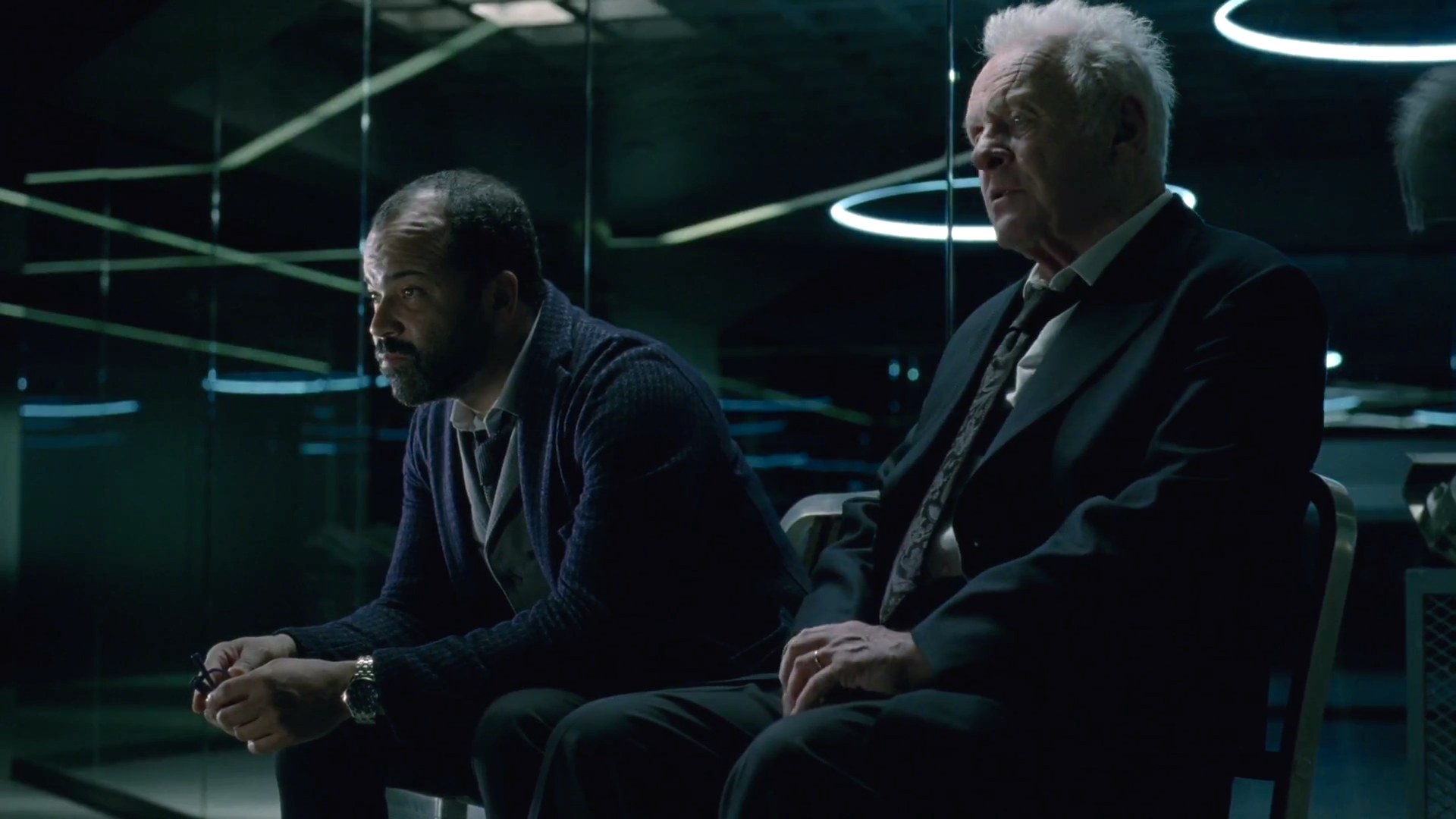 Jeffrey Wright as Bernard Lowe and Anthony Hopkins as Dr. Robert Ford