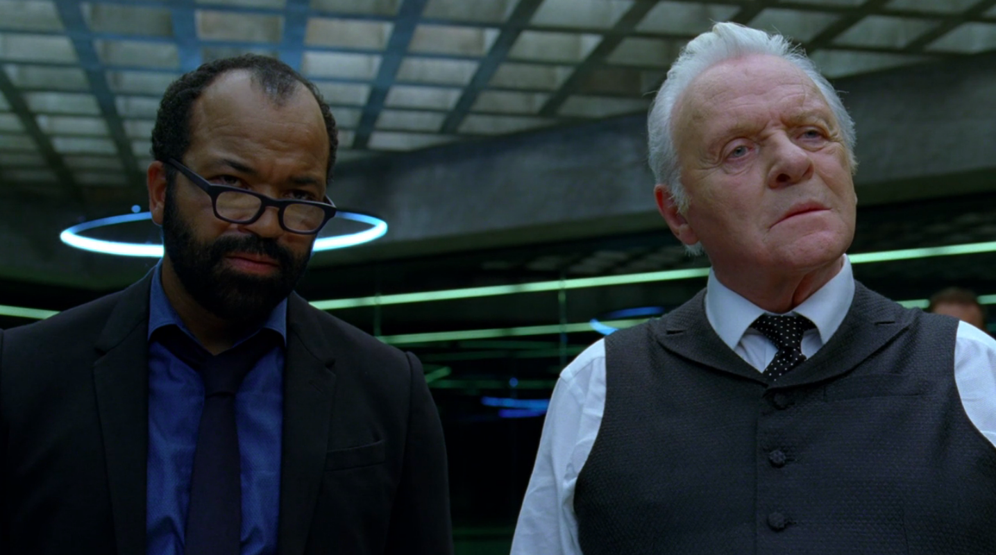 Jeffrey Wright as Bernard Lowe and Anthony Hopkins as Robert Ford in HBO's Westworld