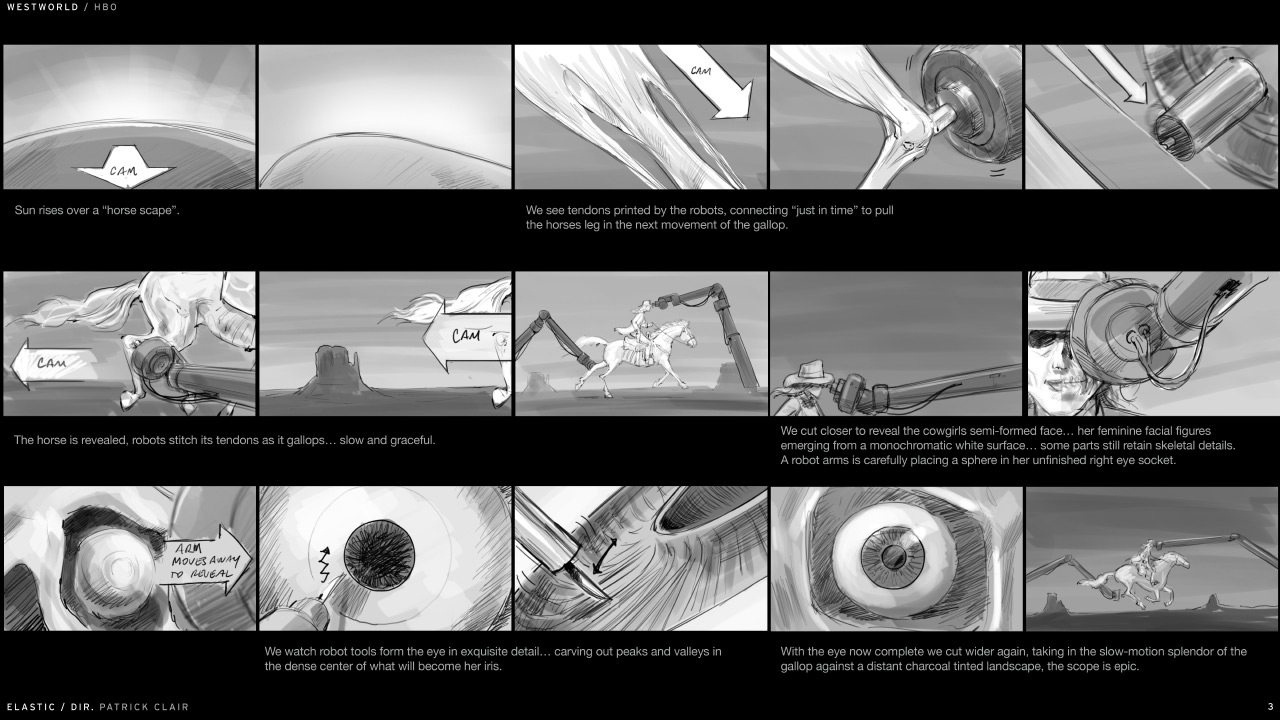 Storyboard for Westworld Opening Credits. Photo: Art of the TItle