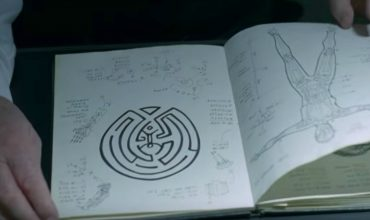 Dr. Robert Ford looking at a diagram of Arnold's maze in Westworld