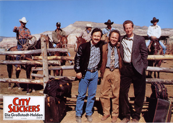 Billy Crystal, Daniel Stern, and Bruno Kirby in City Slickers
