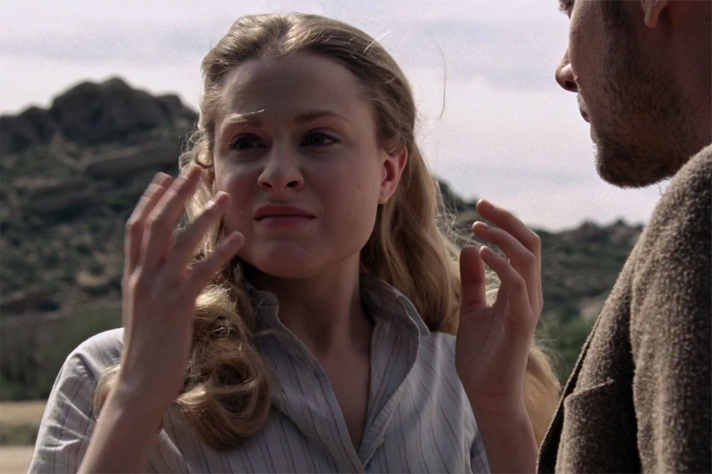 Evan Rachel Wood as an upset Dolores Abernathy in HBO's Westworld
