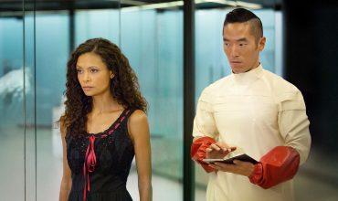 Thandie Newton as Maeve and Leonardo Nam as Felix in HBO's Westworld