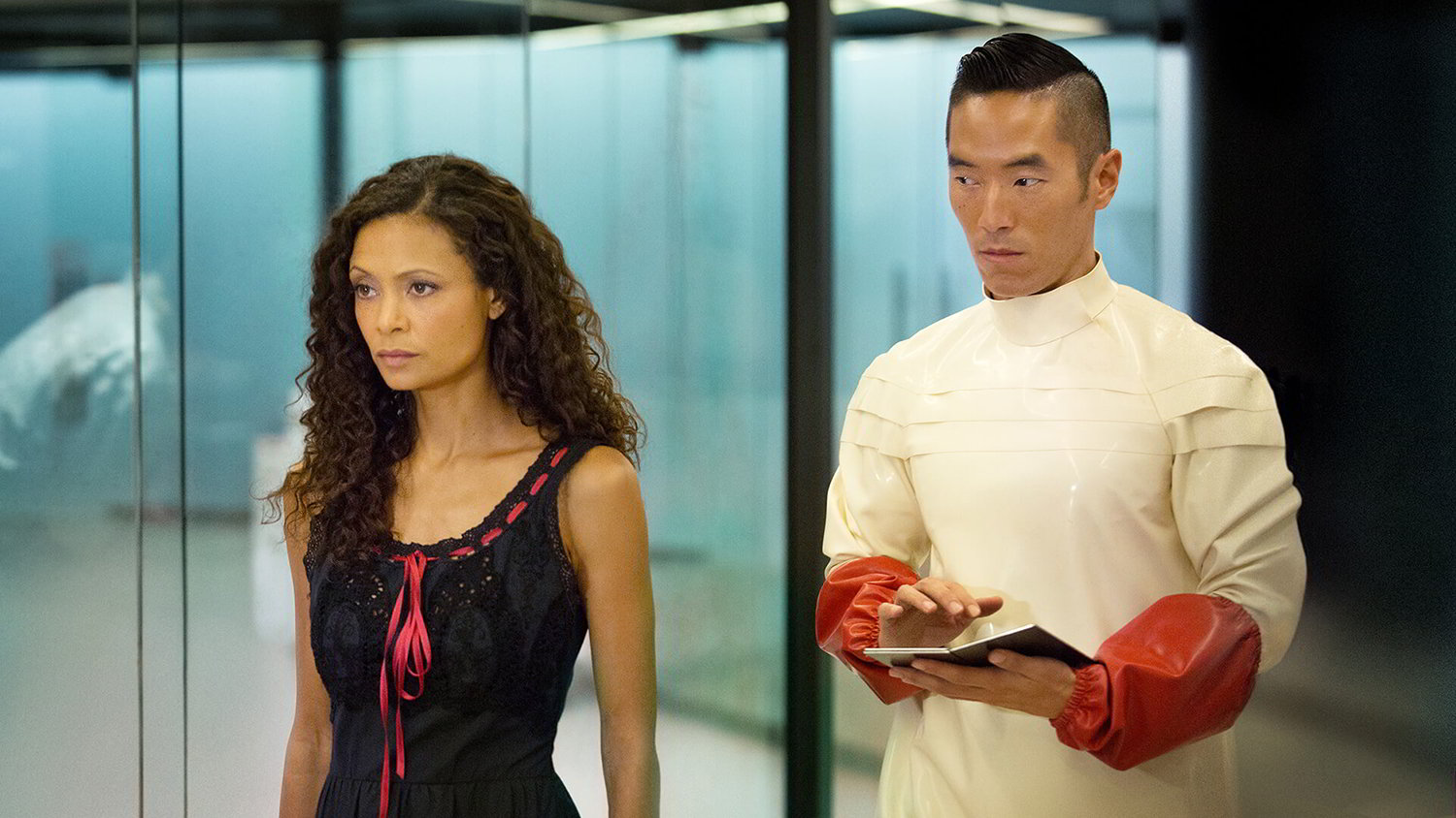 Thandie Newton as Maeve and Leonardo Nam as Felix in HBO's Westworld