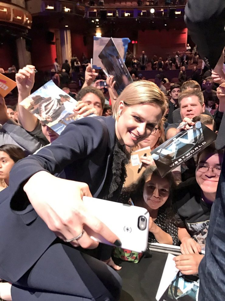 Evan Rachel Wood with fans at PaleyFest