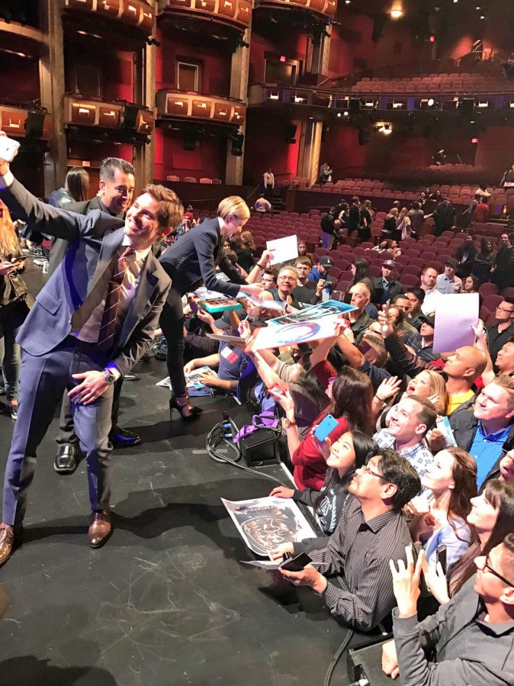James Marsden and Evan Rachel Wood with fans at PaleyFest