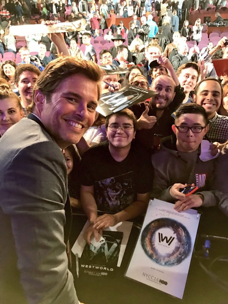 James Marsden with fans at PaleyFest