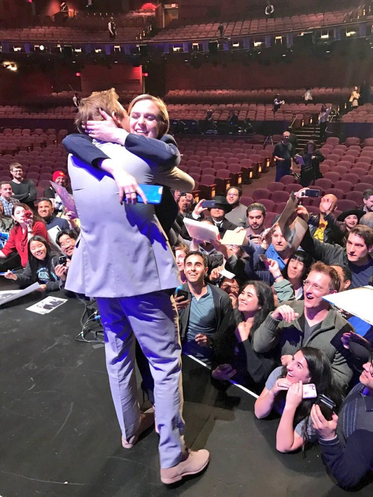 Jimmi Simpson and Evan Rachel Wood hug at PaleyFest