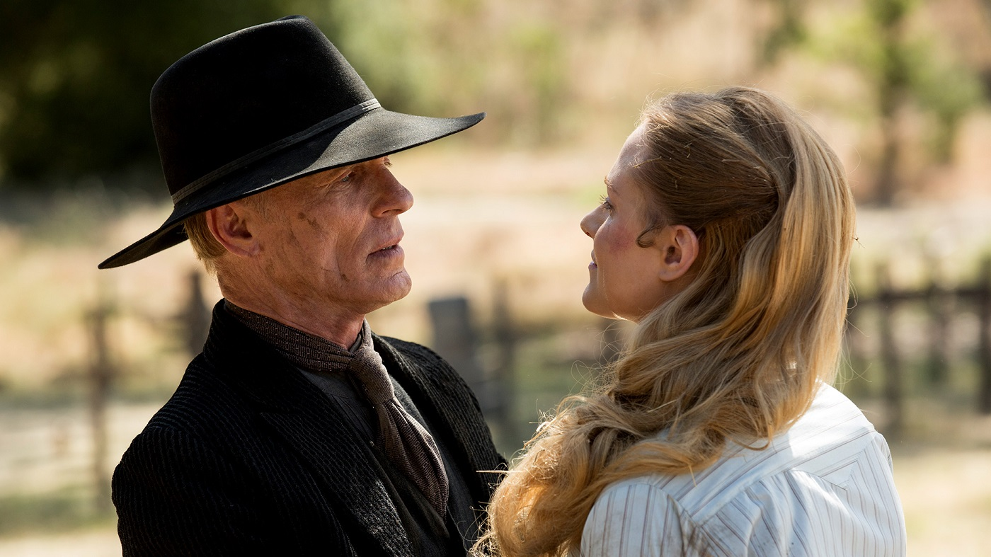 Man in Black and Dolores on Westworld
